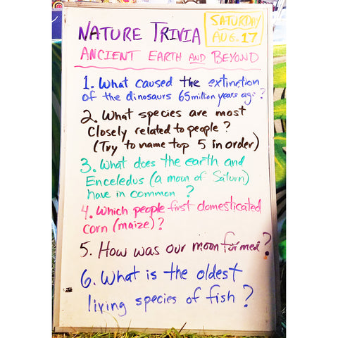 Nature Trivia Quiz (Day 1) at the CACE booth at the Philadelphia Folk Festival 2019