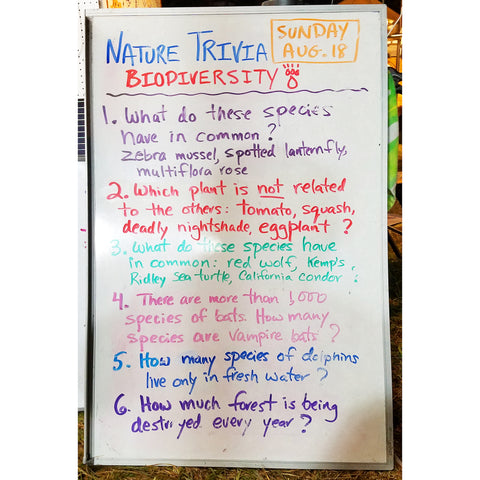 Nature Trivia Quiz (Day 2) at the CACE booth at the Philadelphia Folk Festival 2019