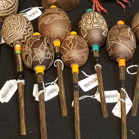 Calabash pod maracas carved with Amazon wildlife designs at the CACE booth at the Philadelphia Folk Festival 2019