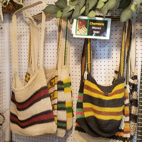 Fair-trade shoulder bags woven with chambira palm fiber at the CACE booth at the Philadelphia Folk Festival 2019