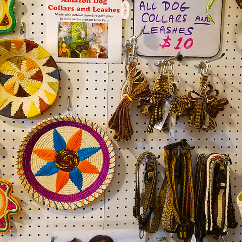 Fair-trade dog collars and leashes woven with chambira palm fiber at the CACE booth at the Philadelphia Folk Festival 2019