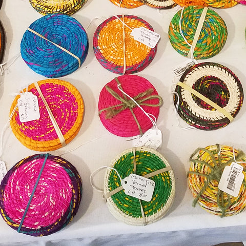 Fair-trade coasters hand-made with chambira palm fiber at the CACE booth at the Philadelphia Folk Festival 2019