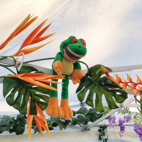 Plush frog and tropical plants at CACE booth at Rhythm and Roots Festival 2019