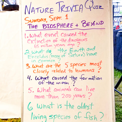Nature trivia quiz at CACE booth at Rhythm and Roots Festival 2019