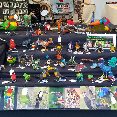 chambira animal ornaments at CACE booth at Romp Festival 2019