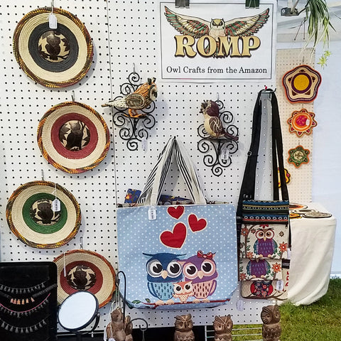 Owl bags and baskets at CACE booth at Romp Festival 2019