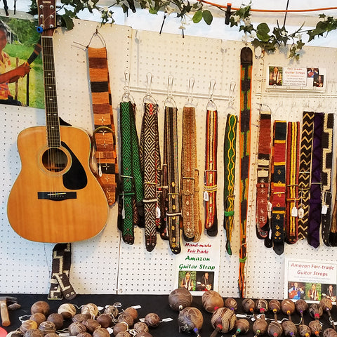 Amazon guitar straps at CACE booth at Romp Festival 2019