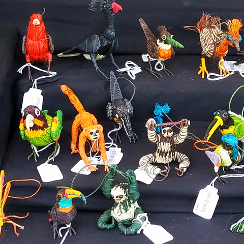 Hand-made bird and wildlife ornaments at CACE booth at Romp Festival 2019