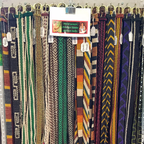Hand woven chambira palm fiber belts at CACE booth at Falcon Ridge Folk Festival 2019