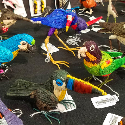Woven bird ornaments at the CACE booth at the Strawberry Festival 2019