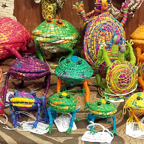Woven frog ornaments at the CACE booth at the Strawberry Festival 2019