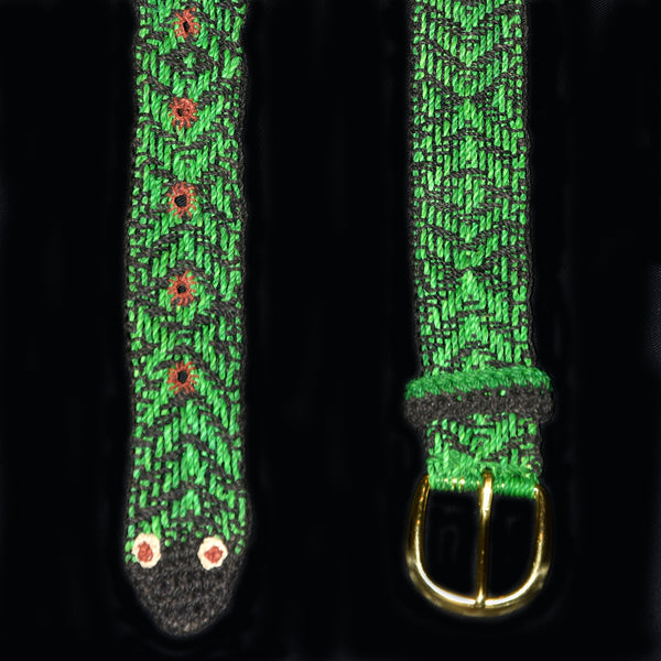 FAIR -TRADE HAND-MADE BELT (BT01C) GREEN ANACONDA PATTERN - WOVEN BY PERUVIAN AMAZON ARTISAN