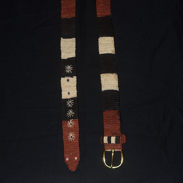 FAIR -TRADE HAND-MADE BELT (BT02A) CORAL SNAKE - NACA NACA PATTERN 1- WOVEN BY PERUVIAN AMAZON ARTISAN