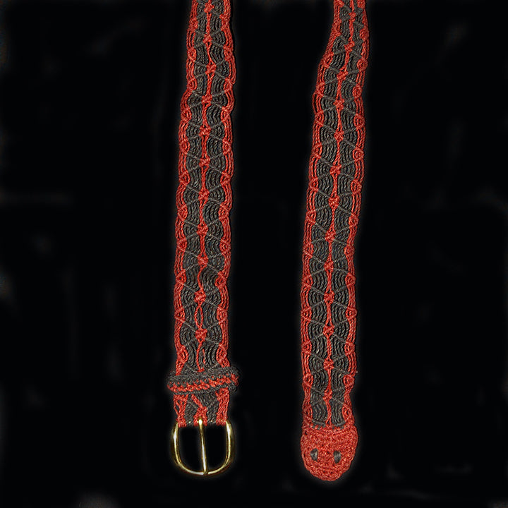 FAIR -TRADE HAND-MADE BELT (BT03A) RED AND BLACK BOA PATTERN- WOVEN BY PERUVIAN AMAZON ARTISAN