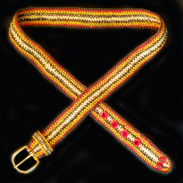 FAIR -TRADE HAND-MADE BELT (BT06A) BUSHMASTER - SHUSHUPE PATTERN 1- WOVEN BY PERUVIAN AMAZON ARTISAN