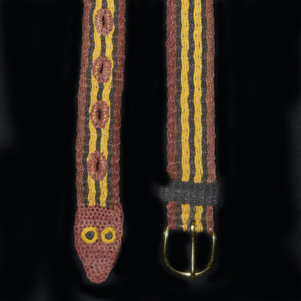 FAIR -TRADE HAND-MADE BELT (BT07A) MAROON STRIPED SNAKE- WOVEN BY PERUVIAN AMAZON ARTISAN