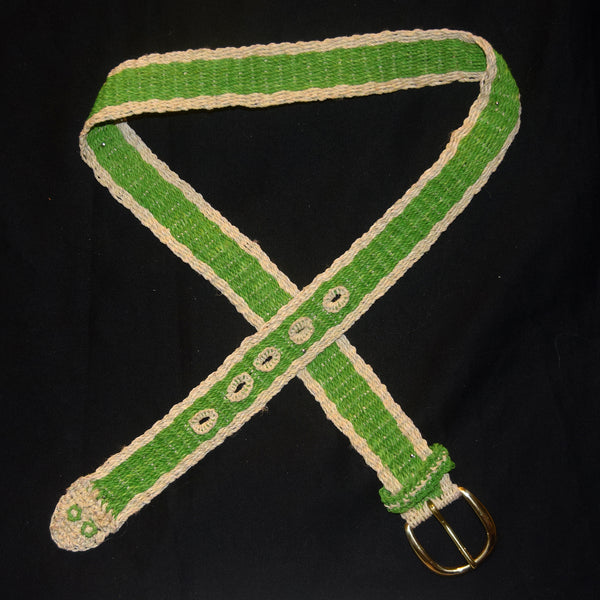 FAIR -TRADE HAND-MADE BELT (BT10A) GREEN TREE PIT VIPER - LORO MACHACO PATTERN- WOVEN BY PERUVIAN AMAZON ARTISAN