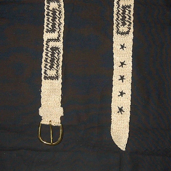 FAIR -TRADE HAND-MADE BELT (BT11A) BORA LABYRINTH LOGO - WHITE WITH BLACK - WOVEN BY PERUVIAN AMAZON ARTISAN