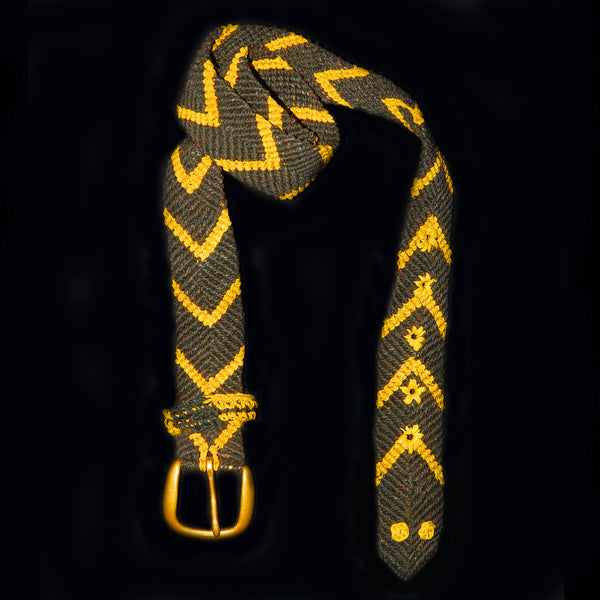 FAIR -TRADE HAND-MADE BELT  (BT13A) BLACK AND YELLOW CHEVRON PATTERN - WOVEN BY PERUVIAN AMAZON ARTISAN