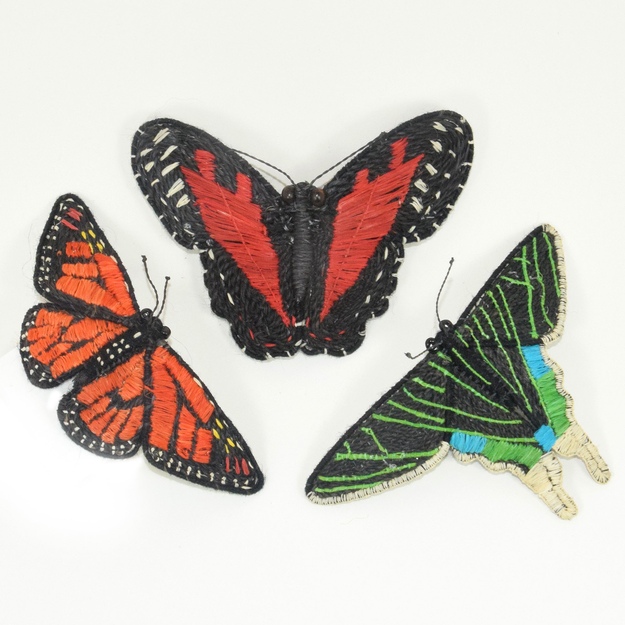 Woven butterfly hair barrettes
