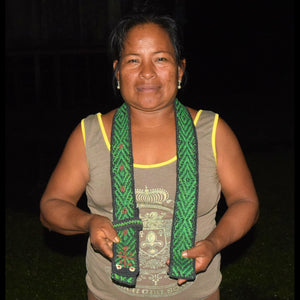 GS01C: Native artisan Monica Chichaco with Amazon green anaconda guitar strap -