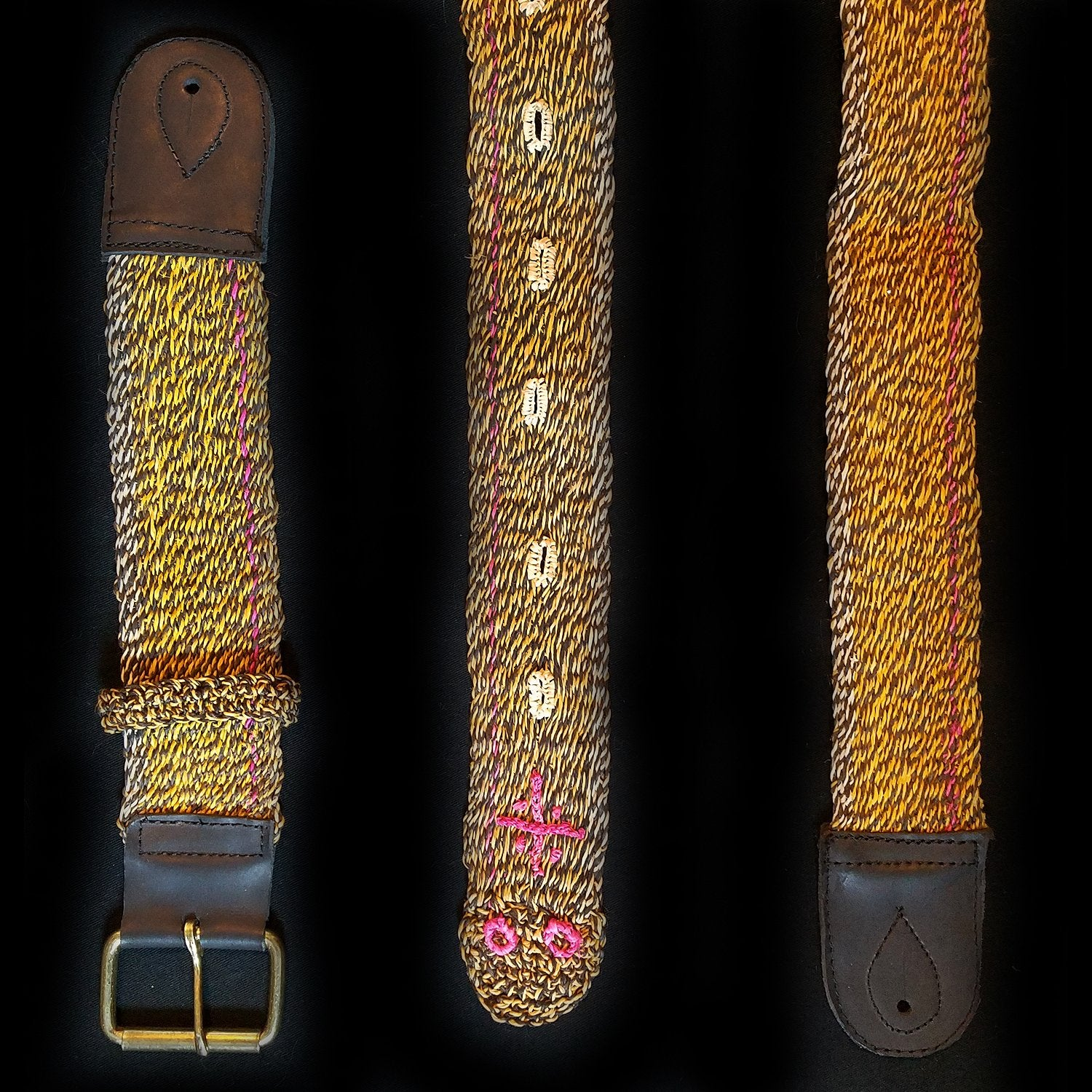 GS05A : Fair-trade hand-made Amazon guitar strap - tropical rattlesnake model