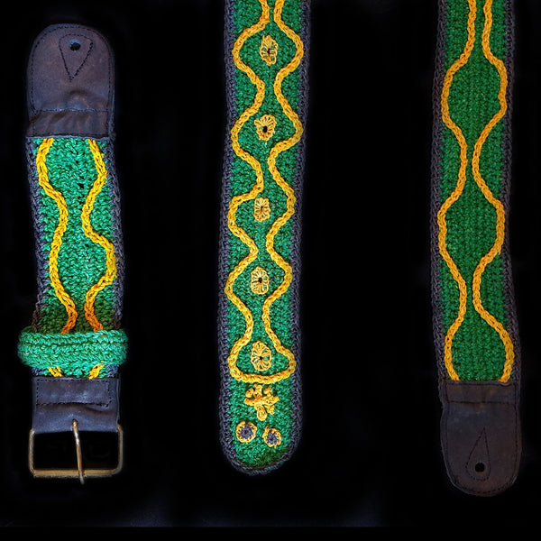 FAIR -TRADE HAND-MADE GUITAR STRAP - EMERALD TREE BOA PATTERN - WOVEN BY PERUVIAN AMAZON ARTISAN