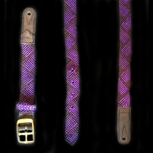 GSM14A : Fair-Trade hand-made Amazon mandolin strap - purple chevron model