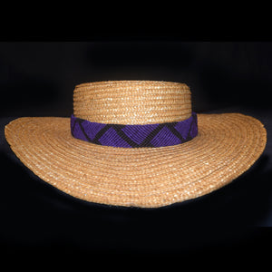 Fair-trade Hand-made Hat band - Purple and black chevron pattern - HB15A
