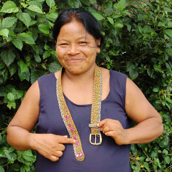 FAIR -TRADE HAND-MADE BELT (BT05A) CASCABEL TROPICAL RATTLESNAKE PATTERN- WOVEN BY PERUVIAN AMAZON ARTISAN
