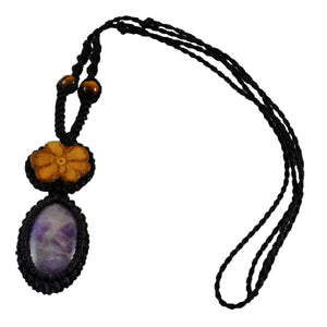 Ayahuasca vine and purple amethyst macrame necklace
