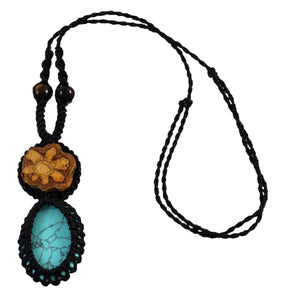 Ayahuasca vine and turquoise macrame necklace