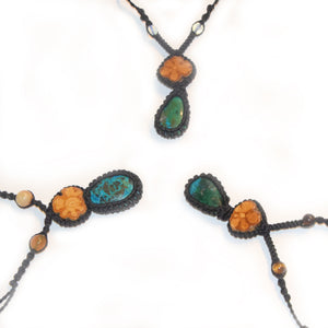 Ayahuasca vine and Peruvian green turquoise macrame necklace