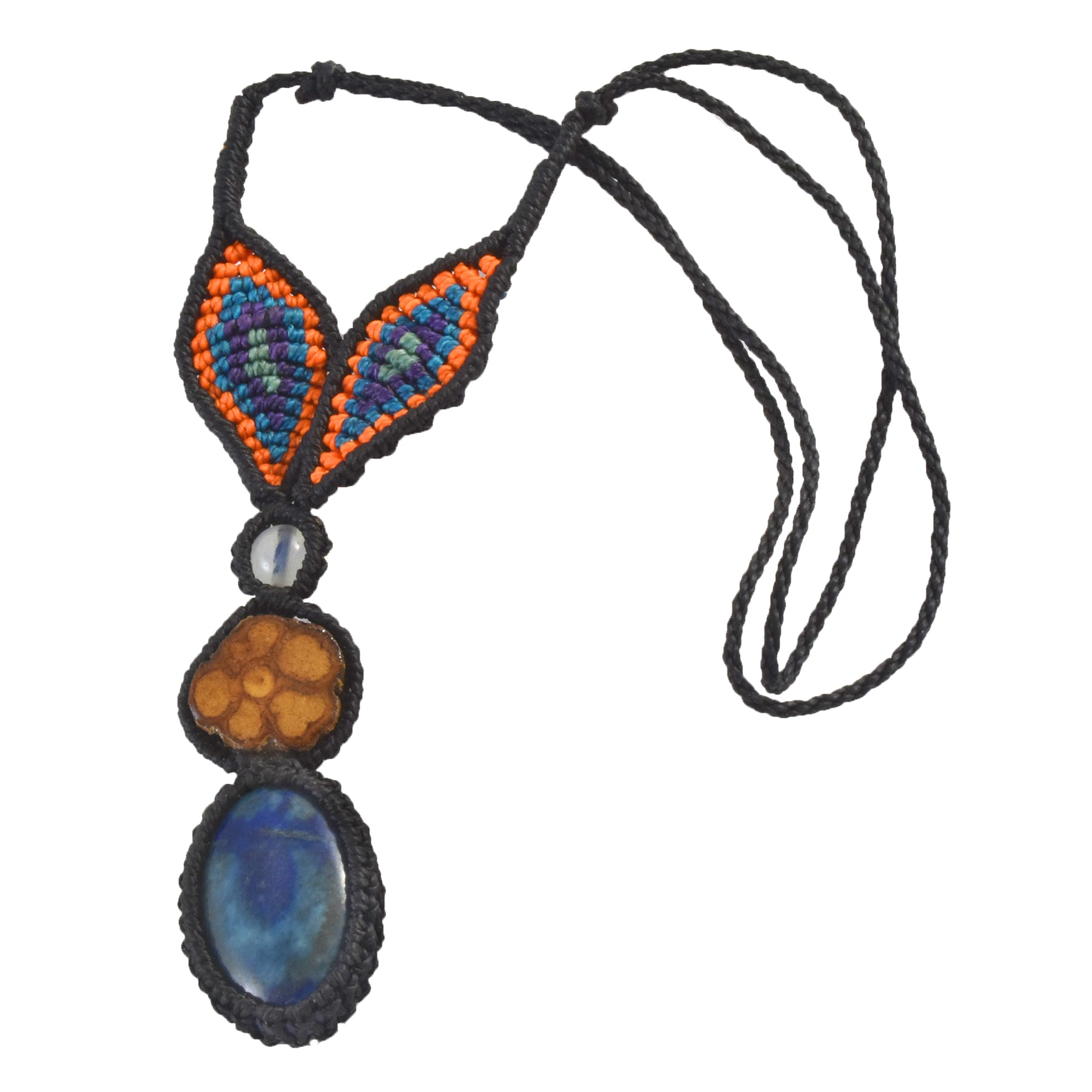 Ayahuasca vine and lapis lazuli macrame necklace with woven leaves