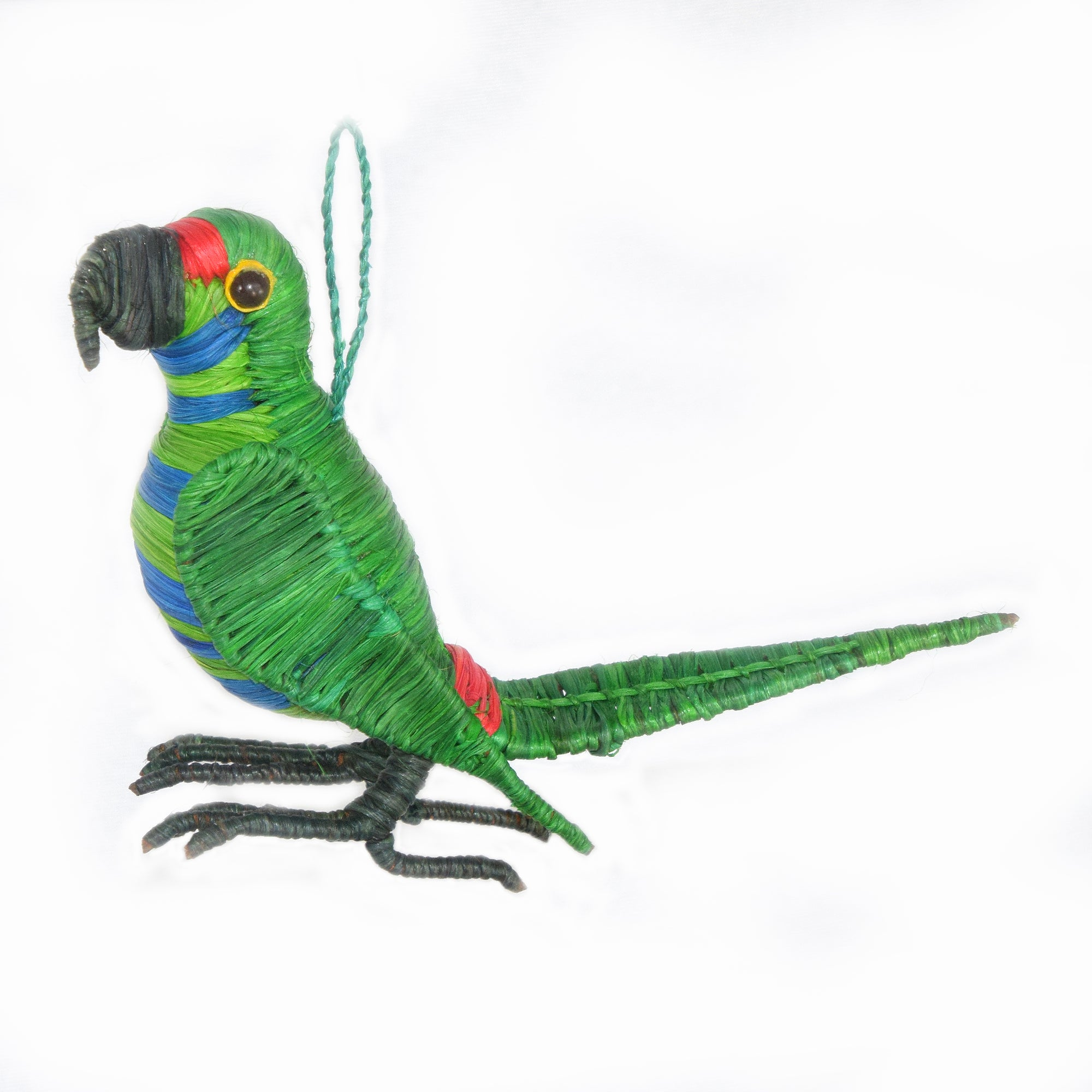 GREEN AND BLUE PARROT BIRD - FAIR-TRADE CHRISTMAS TREE ORNAMENT - WOVEN BY PERUVIAN AMAZON ARTISAN