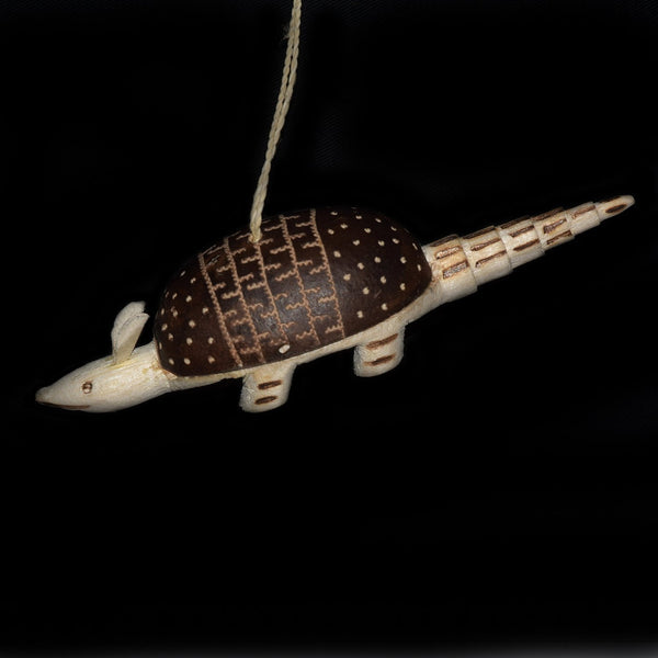 FAIR-TRADE CHRISTMAS TREE BALSA WOOD AND CALABASH POD ORNAMENT - ARMADILLO - CARVED BY ARTISAN FROM PERUVIAN AMAZON