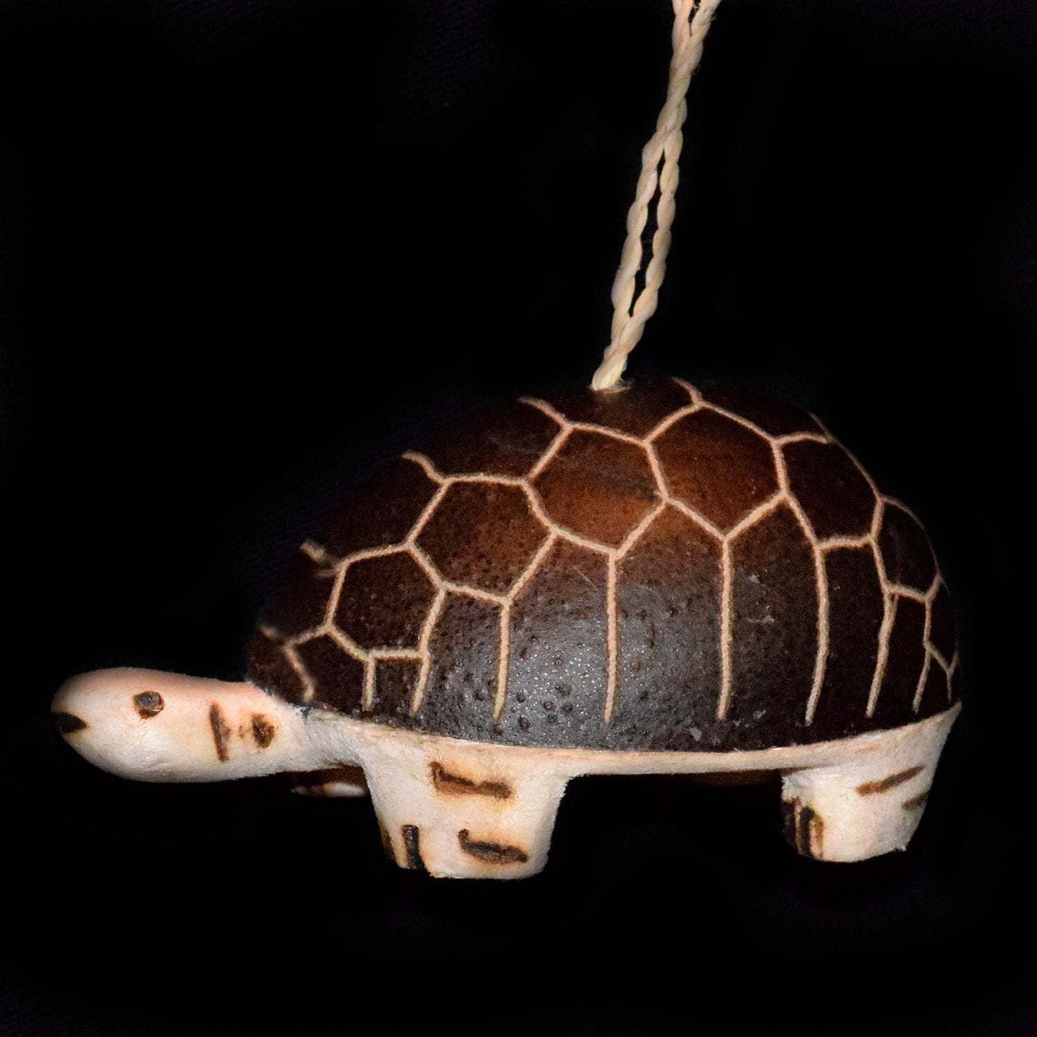 FAIR-TRADE CHRISTMAS TREE BALSA WOOD AND CALABASH POD ORNAMENT - TURTLE - CARVED BY ARTISAN FROM PERUVIAN AMAZON