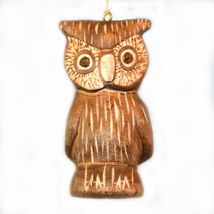 OWL BALSA WOOD FAIR -TRADE ORNAMENT - CARVED BY PERUVIAN AMAZON ARTISAN