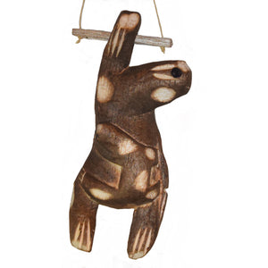 SLOTH BALSA WOOD FAIR -TRADE ORNAMENT - CARVED BY PERUVIAN AMAZON ARTISAN