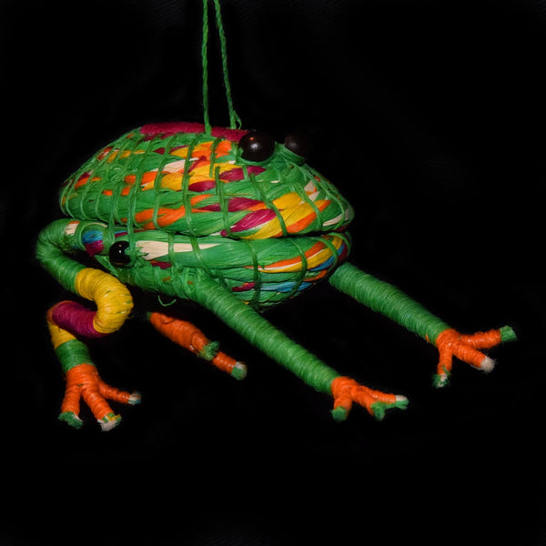 FAIR-TRADE CHRISTMAS TREE ORNAMENT - FROG - WOVEN BY ARTISAN FROM PERUVIAN AMAZON