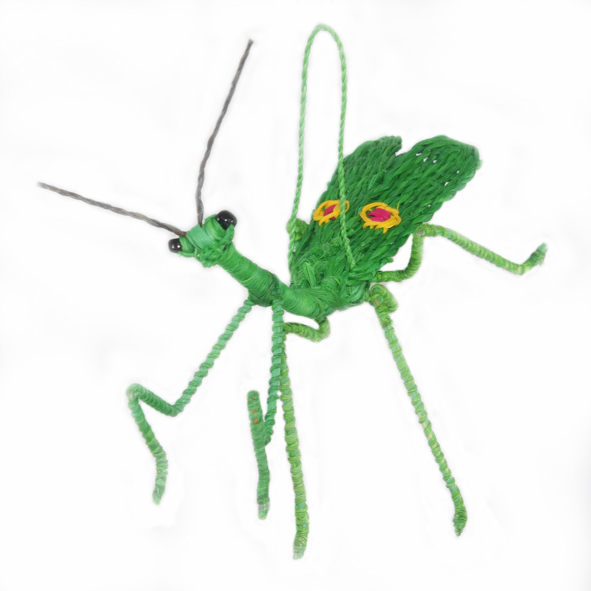 PRAYING MANTIS WOVEN INSECT ORNAMENT - HAND-MADE BY ARTISAN FROM THE PERUVIAN AMAZON