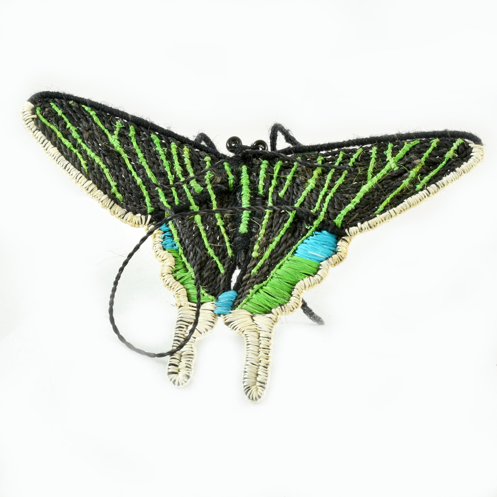 BUTTERFLY WOVEN INSECT ORNAMENT - HAND-MADE BY ARTISAN FROM THE PERUVIAN AMAZON