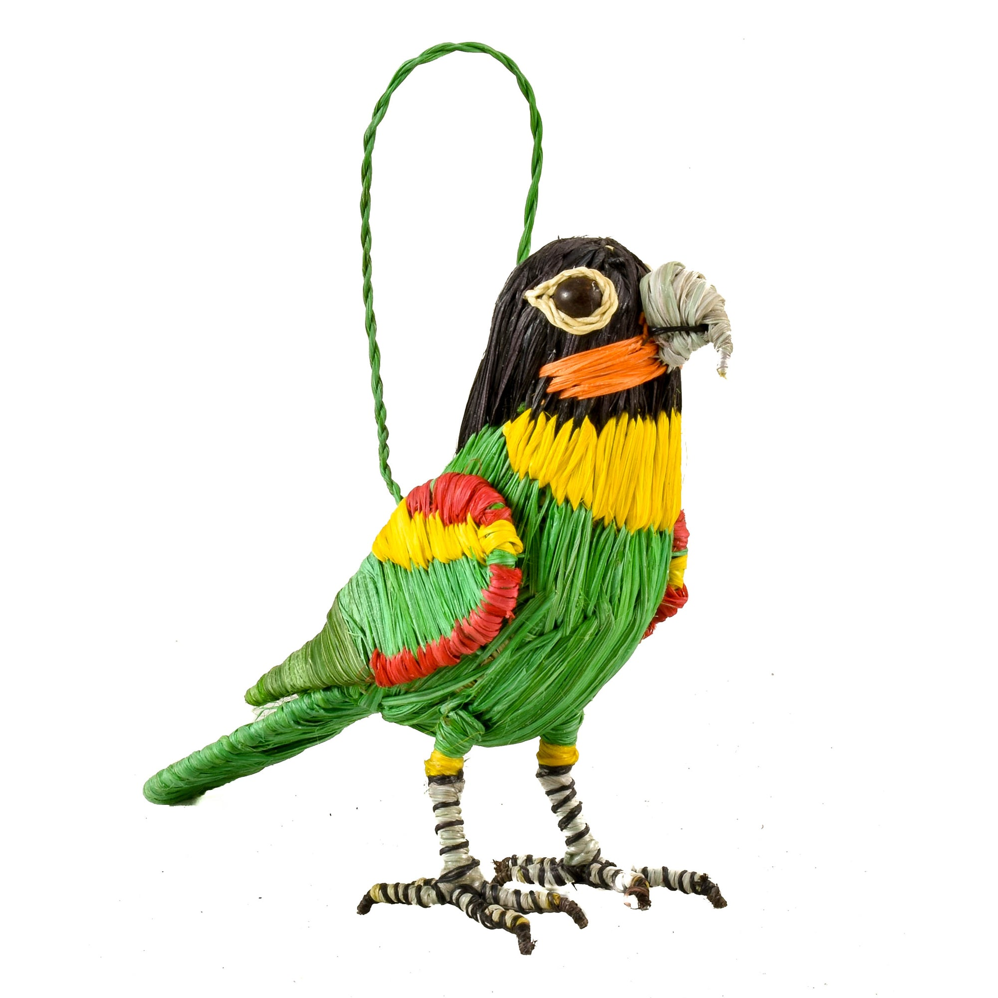 ORANGE CHEEKED PARROT BIRD - FAIR-TRADE CHRISTMAS TREE ORNAMENT - WOVEN BY PERUVIAN AMAZON ARTISAN
