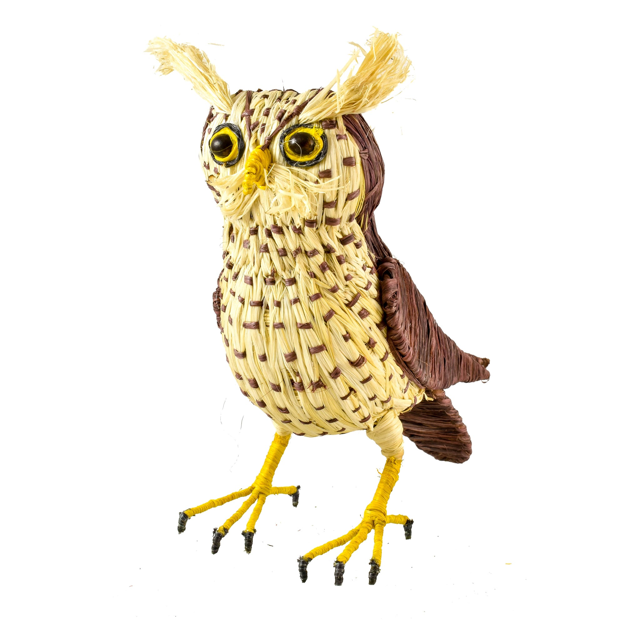 STRIPED OWL BIRD - FAIR-TRADE CHRISTMAS TREE ORNAMENT - WOVEN BY PERUVIAN AMAZON ARTISAN