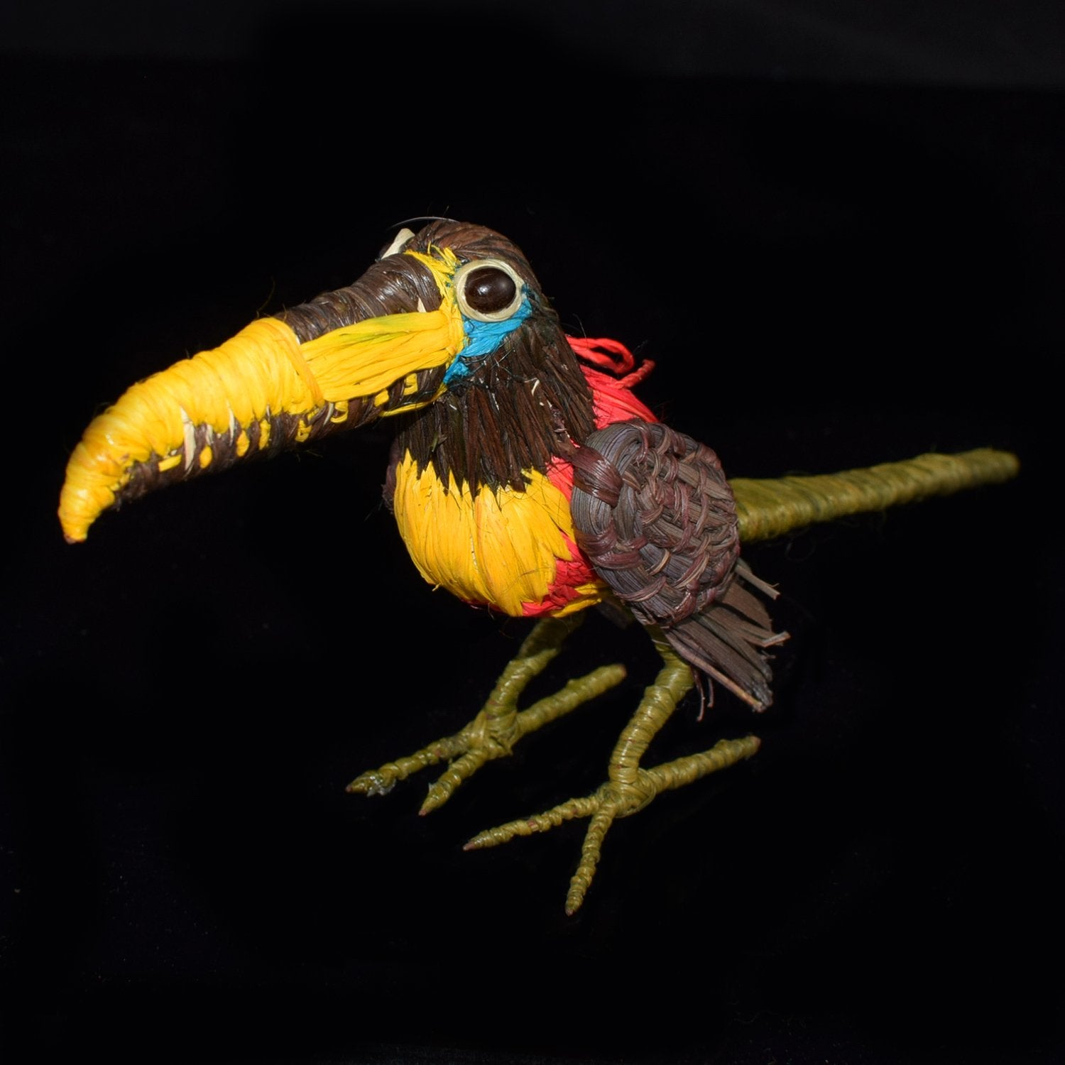 FAIR -TRADE CHRISTMAS TREE ORNAMENT - CHESTNUT EARED ARACARI (TOUCAN) - WOVEN BY PERUVIAN AMAZON ARTISAN