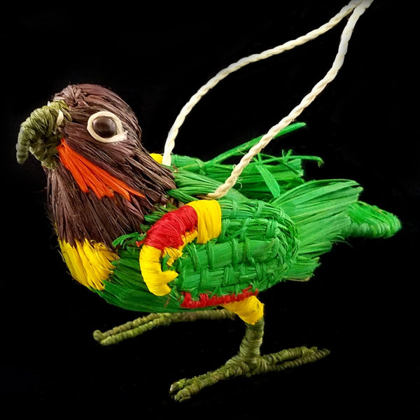 FAIR -TRADE CHRISTMAS TREE ORNAMENT - ORANGE CHEEKED PARROT - WOVEN BY PERUVIAN AMAZON ARTISAN