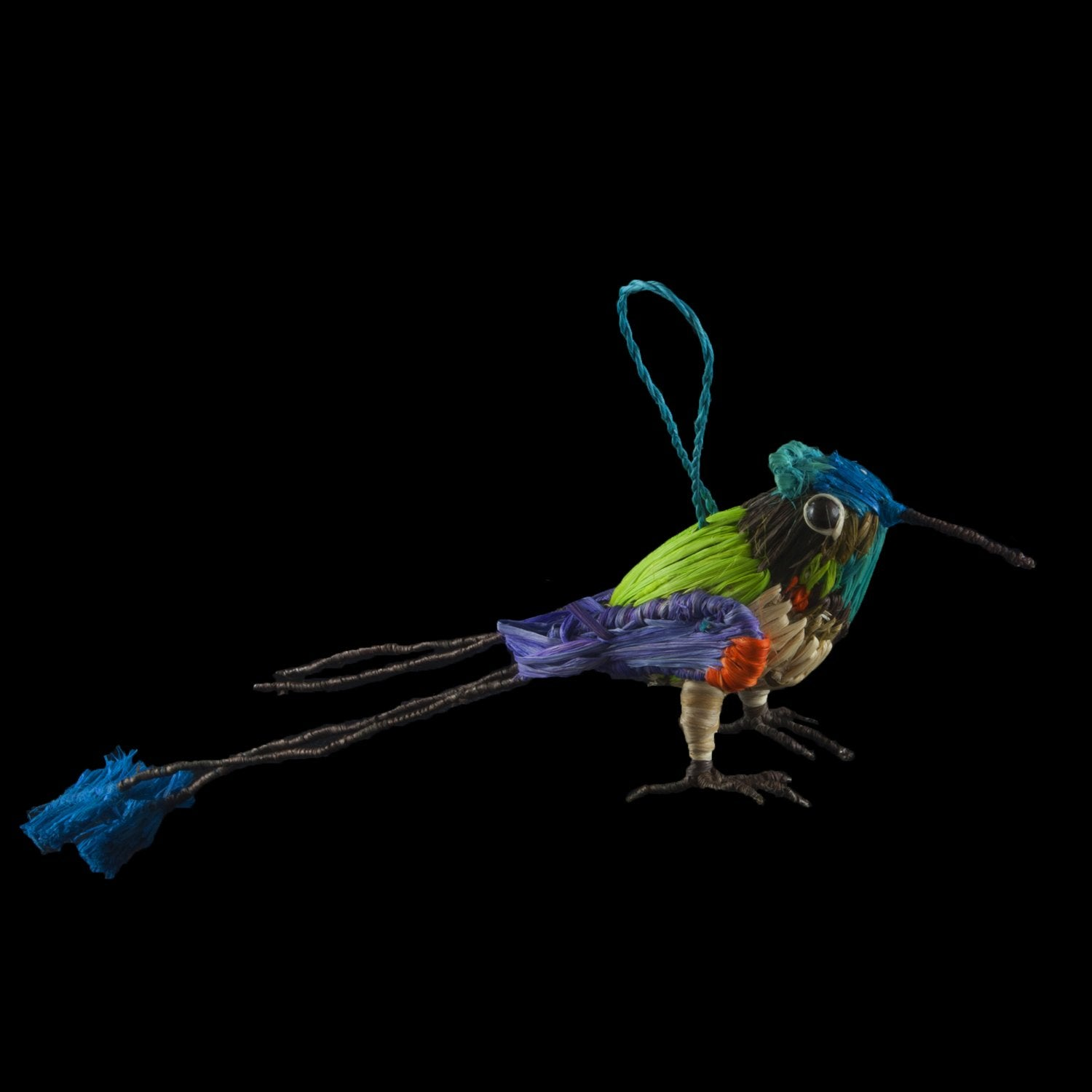 FAIR -TRADE CHRISTMAS TREE ORNAMENT - MARVELOUS SPATULE TAIL HUMMINGBIRD - WOVEN BY PERUVIAN AMAZON ARTISAN