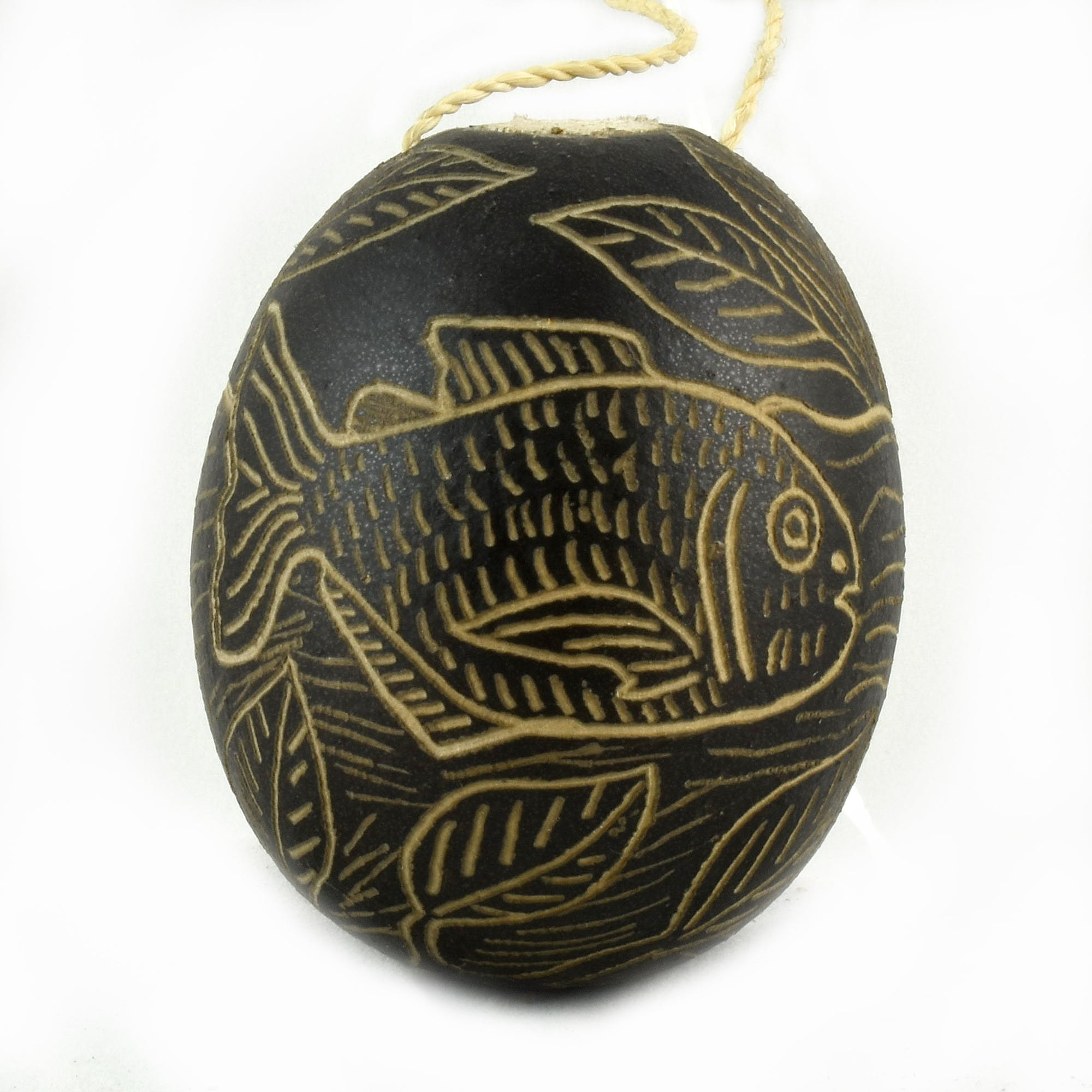 Pirana Fish Calabash Christmas tree ornament and hand rattle