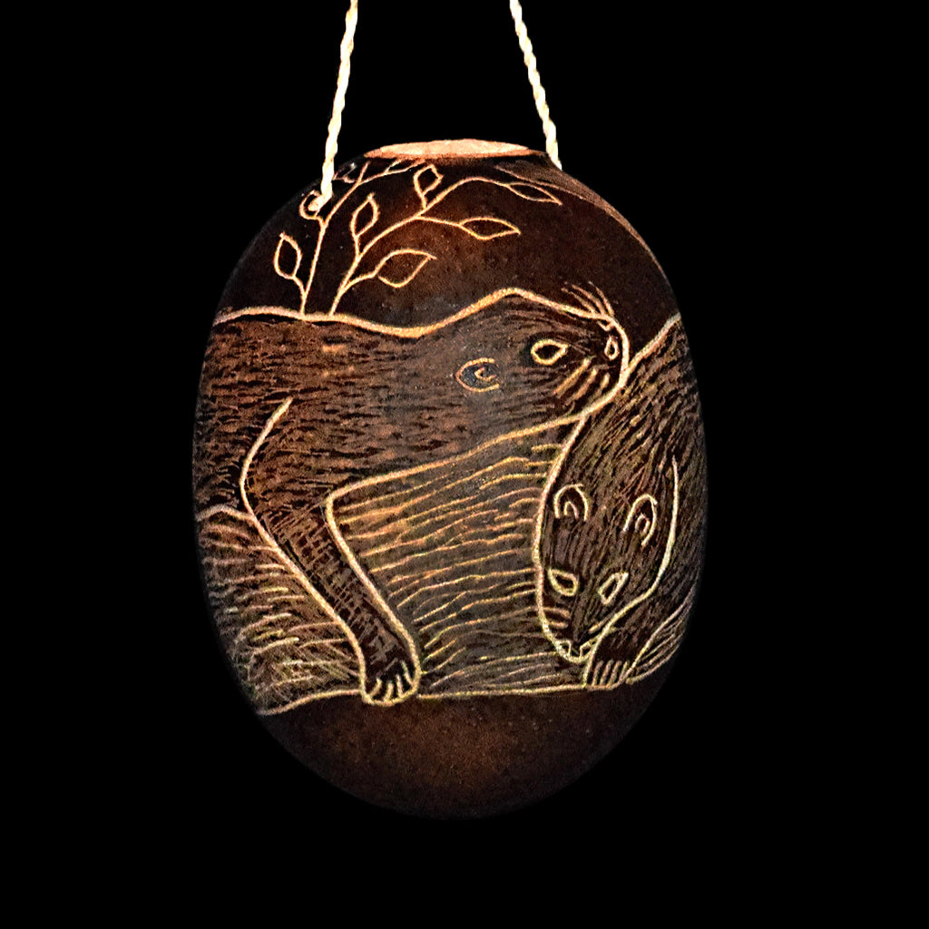 River Otter Mammal Calabash Christmas tree ornament and hand rattle
