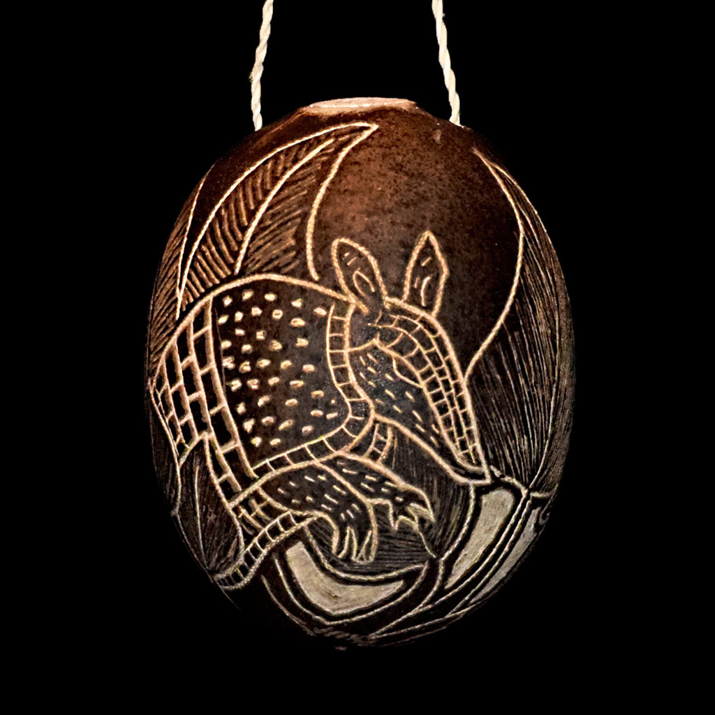Armadillo Mammal Calabash Christmas tree ornament and hand rattle